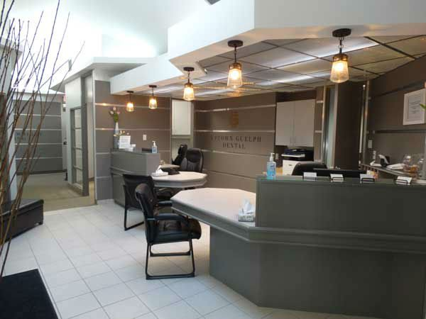 front desk of Uptown Guelph Dental where you can learn more about insurance and apply for financing