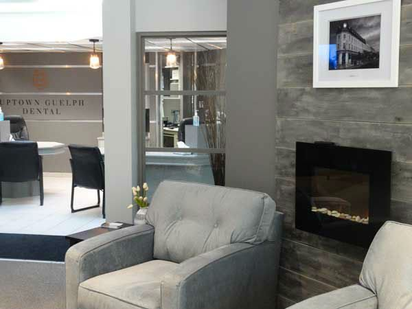 sitting room of Uptown Guelph Dental where you c an get information on what insurance plans are accepted.